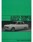 1970 ALFA ROMEO GIULIA 1300 TI INSTRUCTIEBOEKJE ITALIAANS