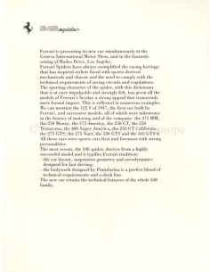 1993 FERRARI PROGRAMMA PRESS BROCHURE PROSPEKT 654/91