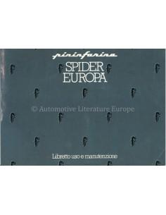 1983 FIAT 124 PININFARINA SPIDER EUROPA OWNERS MANUAL ITALIAN