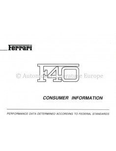 1990 FERRARI F40 CONSUMER INFORMATION OWNERS MANUAL 594/90