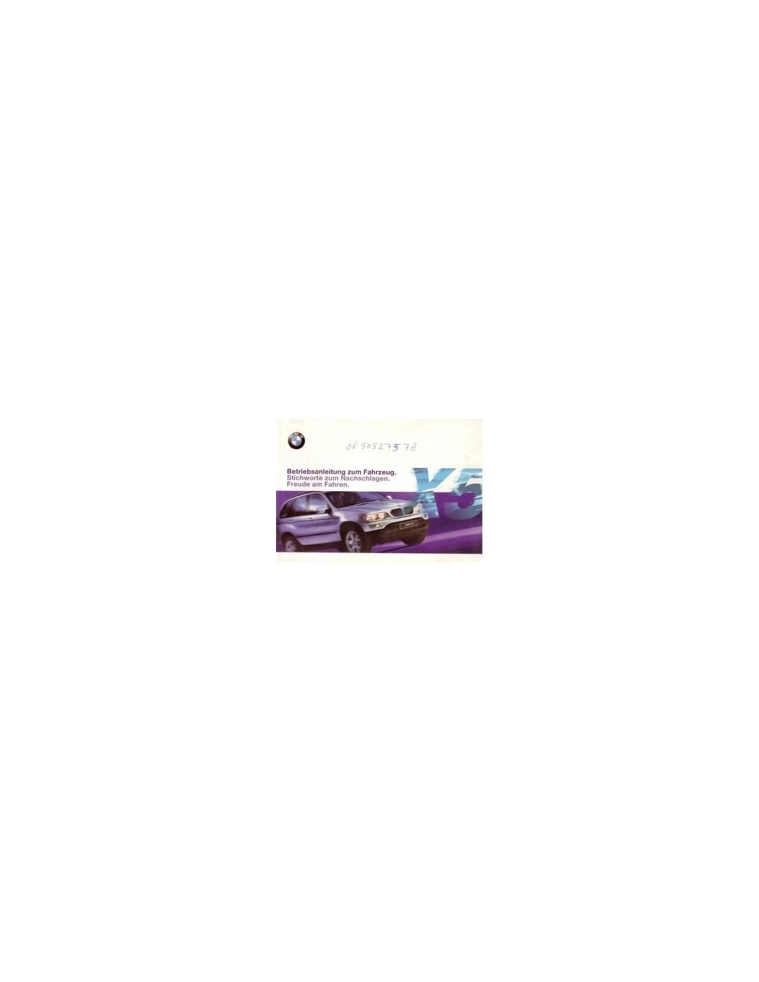 2000 bmw x5 owners manual handbook german automotive literature europe rh autolit eu 2015 BMW X5 2000 BMW X5 Problems