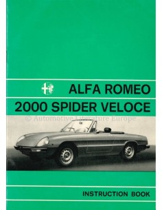 1977 ALFA ROMEO SPIDER 2000 VELOCE OWNERS MANUAL ENGLISH