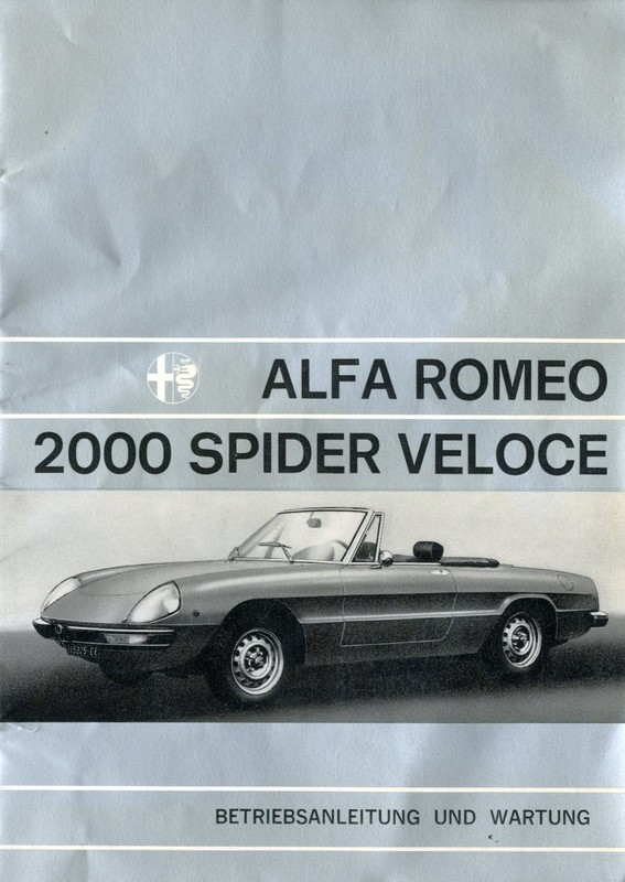 Alfa Romeo Spider Owners Manual Car Owners Manual - Alfa romeo spider workshop manual