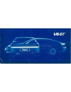 1985 ALPINE V6 GT OWNERS MANUAL