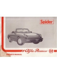 1989 ALFA ROMEO SPIDER OWNERS MANUAL HANDBOOK ENGLISH