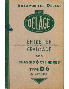 1946 DELAGE TYPE D6 3-LITER INSTRUCTIEBOEKJE FRANS