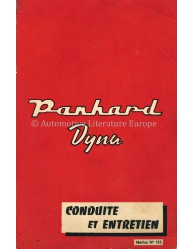 1958 PANHARD DYNA OWNERS MANUAL FRENCH