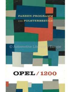 1960 OPEL 1200 FARBEN-PROGRAMM & POLSTERBEZÜGE PROSPEKT DEUTSCH