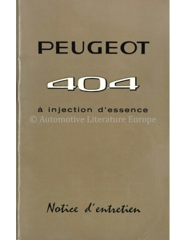 1968 PEUGEOT 404 INJECTION OWNERS MANUAL FRENCH
