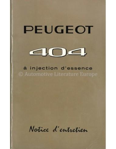 1968 PEUGEOT 404 INJEKTION BETRIEBSANLEITUNG FRANZÖSISCH