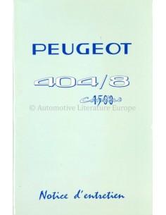 1967 PEUGEOT 404/8 1500 CONFORT BETRIEBSANLEITUNG FRANZÖSISCH