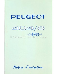 1967 PEUGEOT 404/8 1500 CONFORT OWNERS MANUAL FRENCH