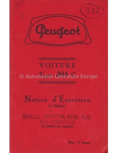 1935 PEUGEOT 301C INSTRUCTIEBOEKJE FRANS