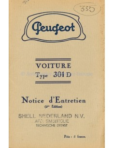 1936 PEUGEOT 301D OWNERS MANUAL FRENCH