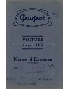 1936 PEUGEOT 402 BETRIEBSANLEITUNG FRANZÖSISCH