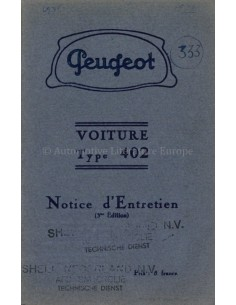 1936 PEUGEOT 402 OWNERS MANUAL FRENCH
