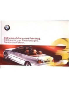 2000 BMW 3 SERIES CONVERTIBLE OWNERS MANUAL HANDBOOK GERMAN
