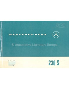1965 MERCEDES BENZ 230 S OWNERS MANUAL