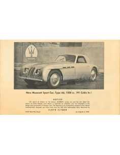 195? MASERATI TYPE A6 BROCHURE ENGLISH (US)