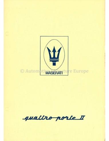 1974 MASERATI QUATTROPORTE II TECHNISCHE BROCHURE 'SCHAARS'