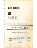 1972 ASTON MARTIN V8 SALOON BETRIEBSANLEITUNG ENGLISCH