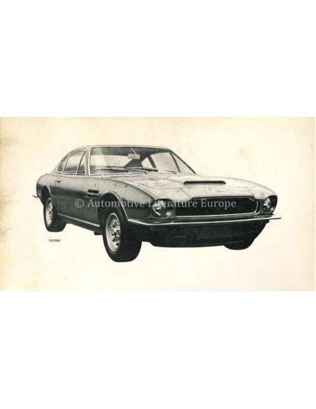 1972 ASTON MARTIN V8 SALOON OWNERS MANUAL ENGLISH