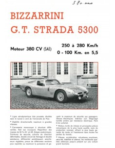 1965 BIZZARRINI GT STRADA 5300 / GT EUROPA 1900 BROCHURE