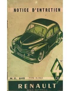 1954 RENAULT 4 CV INSTRUCTIEBOEKJE FRANS