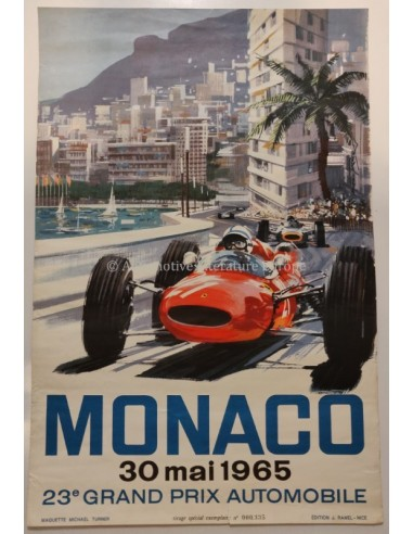 1965 MONACO 23E GRAND PRIX AUTOMOBILE ORIGINAL POSTER