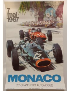 1967 MONACO 25E GRAND PRIX AUTOMOBILE ORIGINAL POSTER
