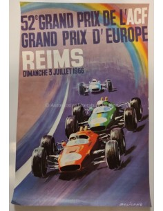 1966 52E GRAND PRIX D'EUROPE REIMS ORIGINAL POSTER