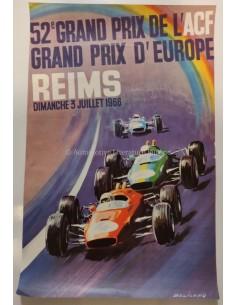 1966 52E GRAND PRIX D'EUROPE REIMS ORIGINELE POSTER