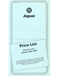 1976 JAGUAR PREISLISTE ENGLISCH