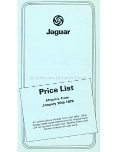 1976 JAGUAR PRICELIST ENGLISH