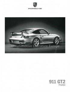 2003 PORSCHE 911 GT2 MODELL IN DATEN PROSPEKT NIEDERLÄNDISCH