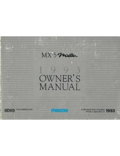 1993 MAZDA MX-5 MIATA OWNERS MANUAL ENGLISH / FRENCH