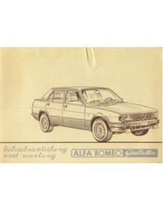 1982 ALFA ROMEO GIULIETTA BETRIEBSANLEITUNG DEUTSCH