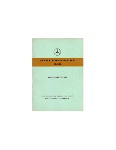 1960 MERCEDES BENZ 190 DB INSTRUCTIEBOEKJE FRANS