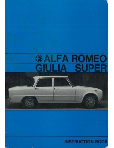 1971 ALFA ROMEO GIULIA 1600 SUPER INSTRUCTIEBOEKJE ENGELS
