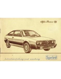 1984 ALFA ROMEO SPRINT INSTRUCTIEBOEKJE DUITS