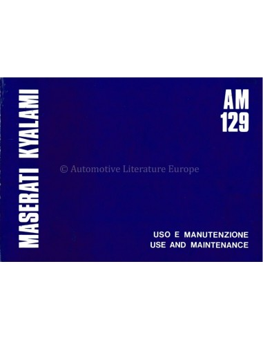 1978 MASERATI KYALAMI OWNERS MANUAL ENGLISH / ITALIAN