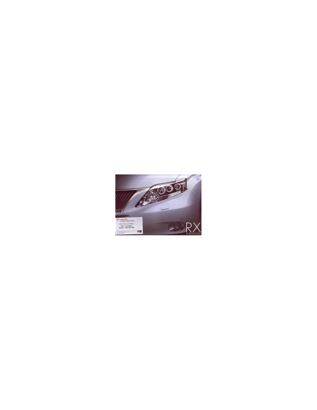 2010 LEXUS RX 450 350 BROCHURE THAI - Automotive Literature