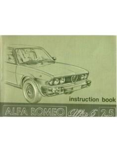 1979 ALFA ROMEO 6 2.5 OWNERS MANUAL HANDBOOK ENGLISH
