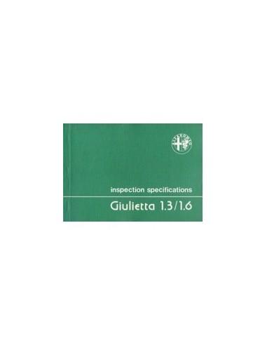 1979 ALFA ROMEO GIULIETTA INSPECTIE SPECIFICATIES ENGELS