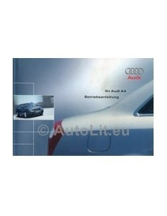 2001 AUDI A4 OWNERS MANUAL HANDBOOK GERMAN