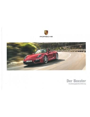 2016 PORSCHE BOXSTER S GTS HARDBACK BROCHURE GERMAN