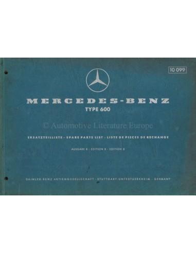 1965 MERCEDES BENZ 600 SPARE PARTSLIST GERMAN ENGLISH FRENCH