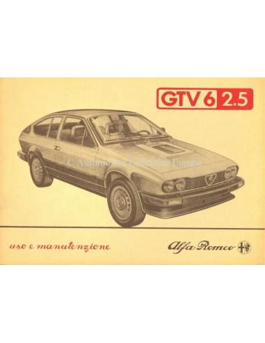 1984 ALFA ROMEO GTV6 2.5 OWNERS MANUAL ITALIAN