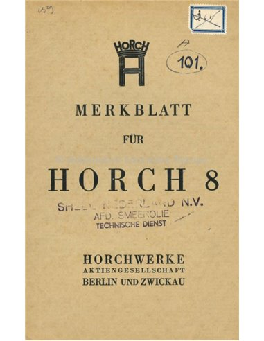 1929 HORCH 8 OWNERS MANUAL GERMAN