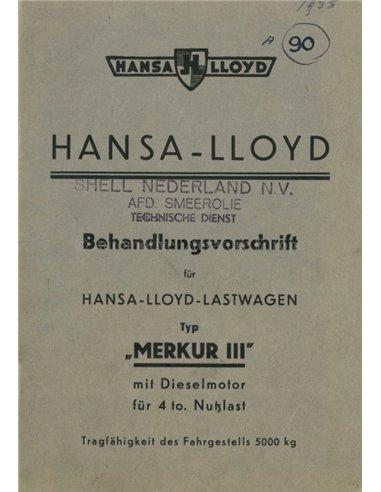 1935 HANSA MERKUR III OWNERS MANUAL GERMAN